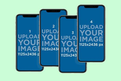 Mockup of Four Overlapping iPhone 11 Pro Floating in a Customizable Surface 788-el