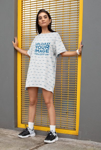 Shift Dress Mockup of a Woman Standing on a Yellow Door Frame 29743