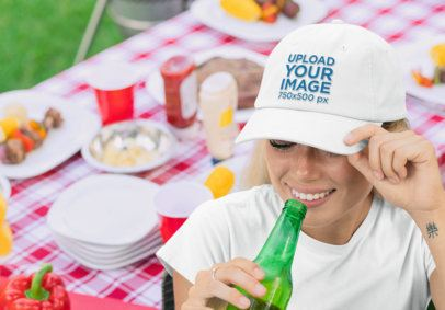 Dad Hat Mockup of a Woman at a Barbecue Party 29723