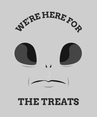 Halloween-Themed T-Shirt Design Template Featuring an Alien Face 1878h