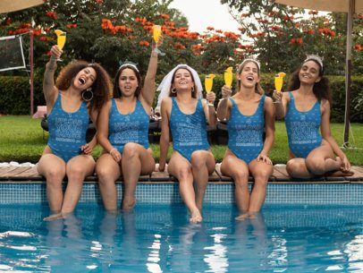Mockup of Five Friends Wearing Swimsuits at a Bachelorette Pool Party 29685