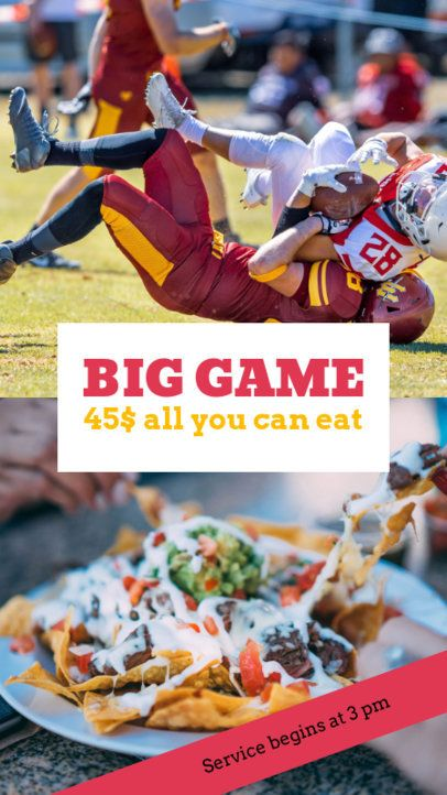 Instagram Story Template for a Football and Food Promo 961j-1926