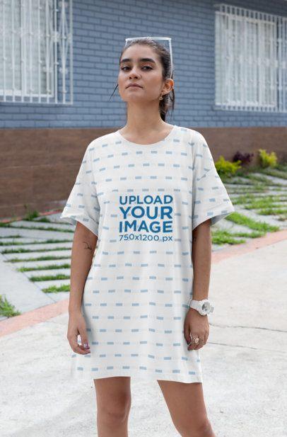 Mockup of a Stylish Woman Wearing a Shift Dress 29750