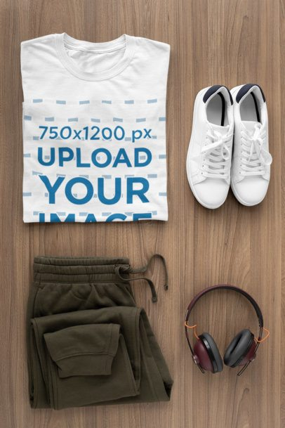 T-Shirt Mockup of a Flat Lay Outfit for Men 29814