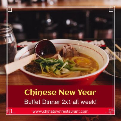 Instagram Post Template for a Chinese New Year's Buffet Promo 1925b