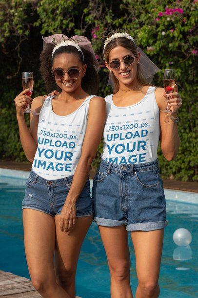 Tank Top Mockup of Two Women Having Fun at a Bachelorette Pool Party 29677