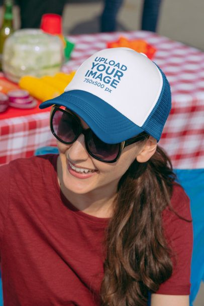 Mockup of a Woman with a Trucker Hat at a Tailgate Party 29874