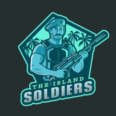 Gaming Logo Maker Featuring a Soldier Character Inspired by Free Fire 2637a