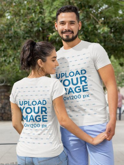 Front and Back T-Shirt Mockup of a Couple Holding Hands on the Street 29782