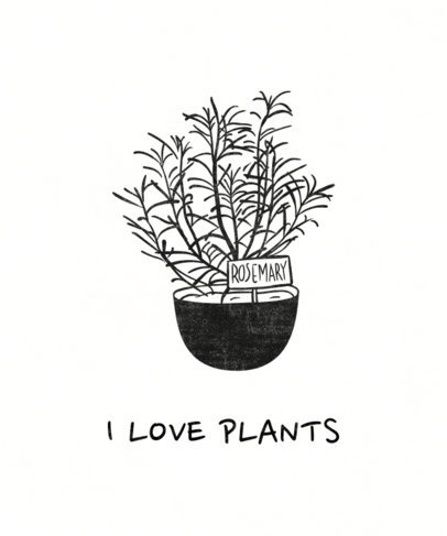 Sustainability T-Shirt Design Maker Featuring a Rosemary Plant Pot 1922g