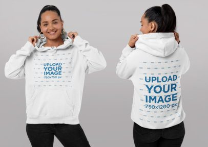 Front and Back Hoodie Mockup of a Woman in a Studio 29657