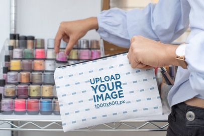 Pouch Mockup of a Woman Selecting Her Makeup 29986