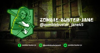 Twitch Banner Template with a Zombie Huntress Illustration 1964b