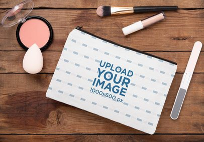 Mockup of a Cosmetic Pouch Lying on a Wooden Surface 29991