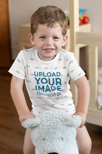 Onesie Mockup of a Baby Boy Playing in His Room 29909