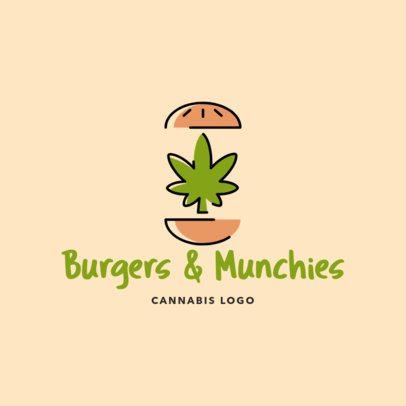 Fast Food Restaurant Logo Maker with a Marijuana Leaf Between Two Burger Breads 2648e