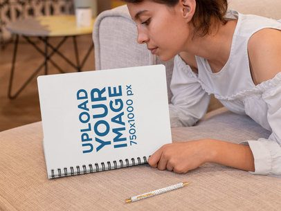 Spiral Notebook Mockup Featuring a Woman Reading 29955