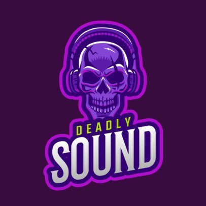 DJ Logo Template Featuring a Skull with Headphones Clipart 2656d