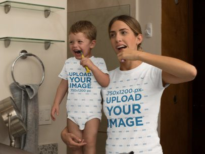 Onesie Mockup of a Baby and His Mom Wearing a T-Shirt While Brushing Their Teeth 29917