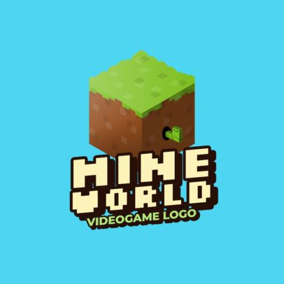 Gaming Logo Template Featuring Minecraft-Inspired 8bit Graphics 2667