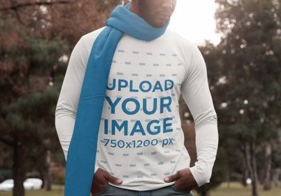 Cropped Face Mockup of a Man Wearing a Long Sleeve Tee at a Park 30301