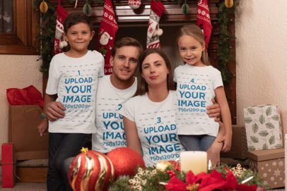 T-Shirt Mockup of a Family of Four Celebrating Christmas 30197