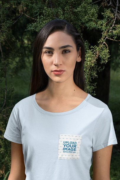 Pocket Tee Mockup Featuring a Serious-Looking Woman 30076