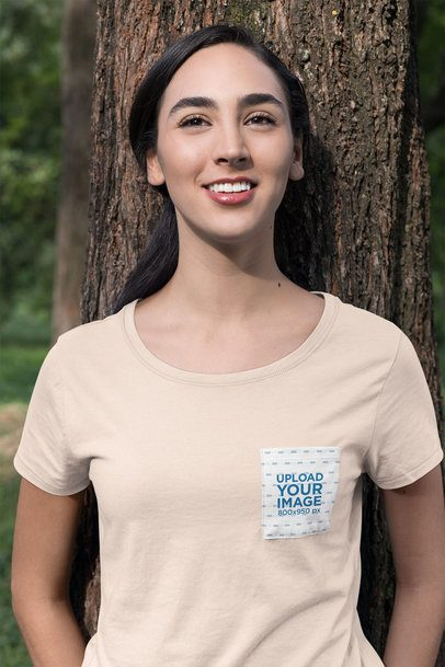 Pocket Tee Mockup of a Woman Leaning on a Tree 30072