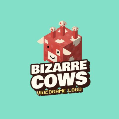 Minecraft-Styled Gaming Logo Generator Featuring a Bizarre Cow Graphic 2667j