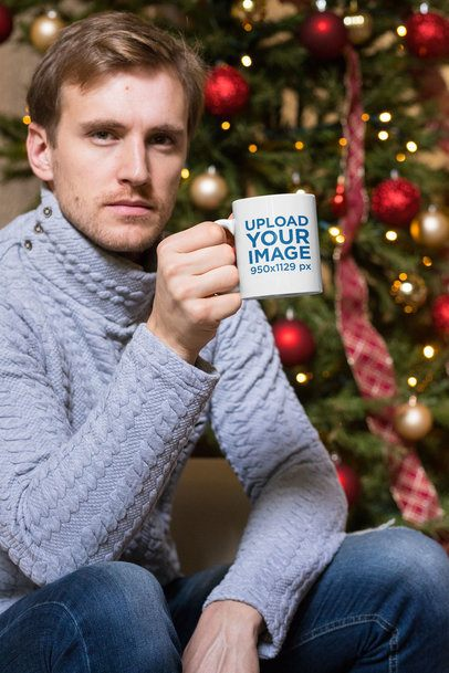 11 oz Mug Mockup of a Man Having a Coffee by a Christmas Tree 30176