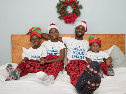 X-Mas Mockup of a Family with Matching T-Shirts in the Bedroom 30360