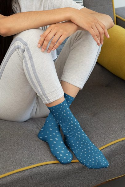 Mockup of a Woman with Customizable Socks 29527