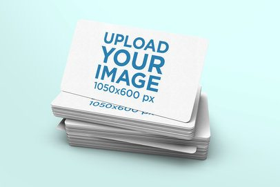 Minimalistic Mockup Featuring a Pile of Business Cards with Rounded Corners 975-el