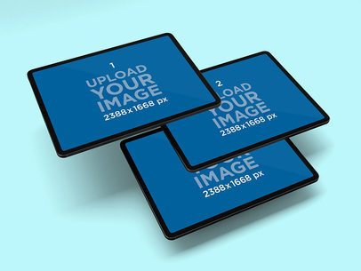 Mockup of Three iPad Pros Floating Together 1020-el