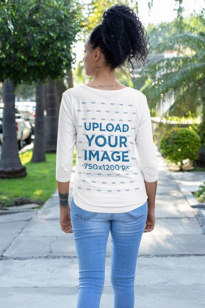 Back-View Mockup of a Woman Wearing a Three-Quarter Sleeves T-Shirt 30220