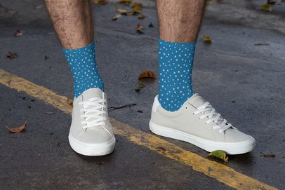 Socks Mockup Featuring a Man Posing at the Street 29555