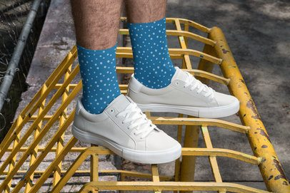 Mockup of a Man with Sublimated Long Socks at an Urban Scenario 29556