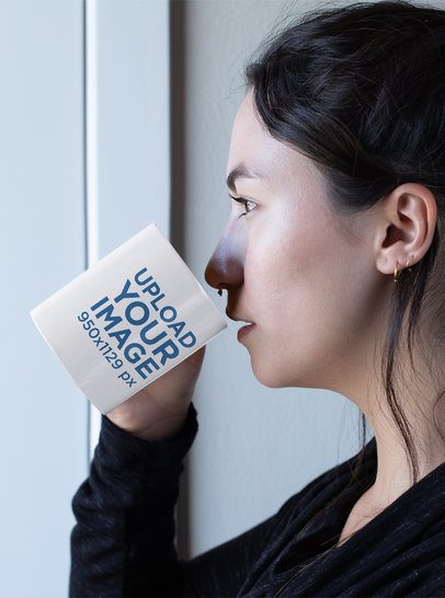 Mockup of a Woman with a Septum Piercing Drinking from Her 11 oz Mug 30134
