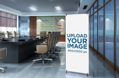 Mockup of a Vertical Banner Standing in a Meeting Room 1036-el