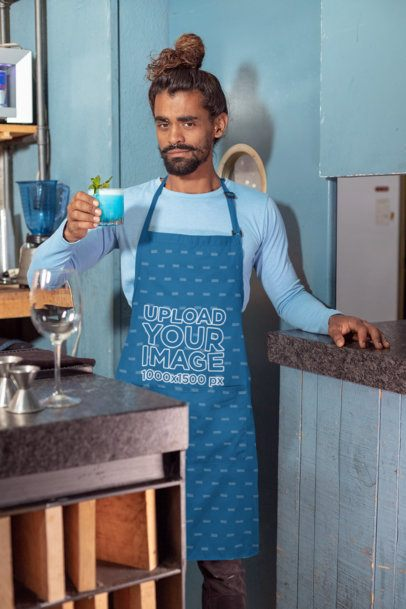 Apron Mockup Featuring a Bartender with a Drink 30296