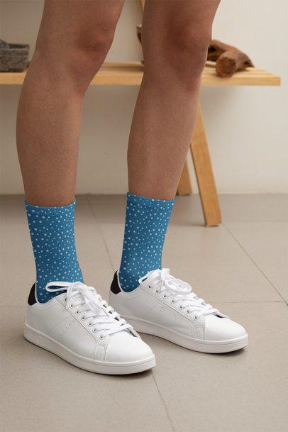 Mockup of a Woman Wearing Customizable Socks at Home 29544