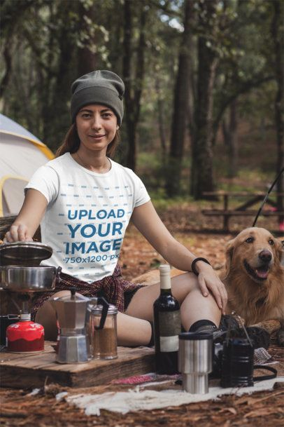 Mockup of a Young Woman at a Campfire Wearing a Crewneck T-Shirt 30461