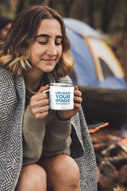 Mockup Featuring a Short-Haired Woman at a Camping Site Holding a 12 oz Enamel Mug with a Silver Rim 30503