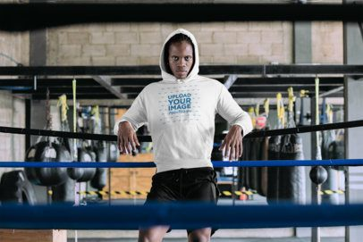 Hoodie Mockup of a Man Leaning on a Boxing Ring 30170