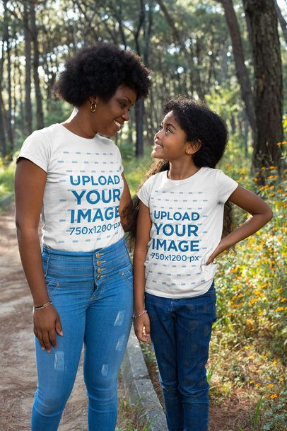 T-Shirt Mockup of a Mom and Daughter Walking in the Park 30603