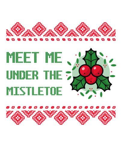 Ugly Christmas T-Shirt Design Generator Featuring a Mistletoe Clipart 19a-el
