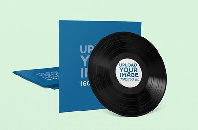 Vinyl Album Mockup Featuring a Customizable Background 1042-el