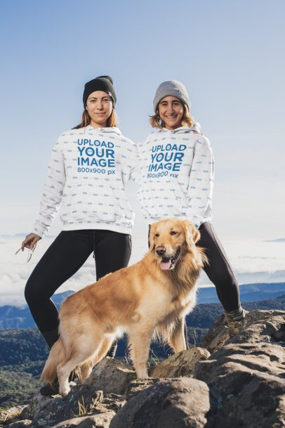 Mockup of Two Friends with Pullover Hoodies on a Hiking Trail 30494