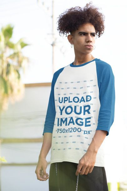 Three-Quarter Sleeves Raglan Tee Mockup of a Young Man Posing 30214
