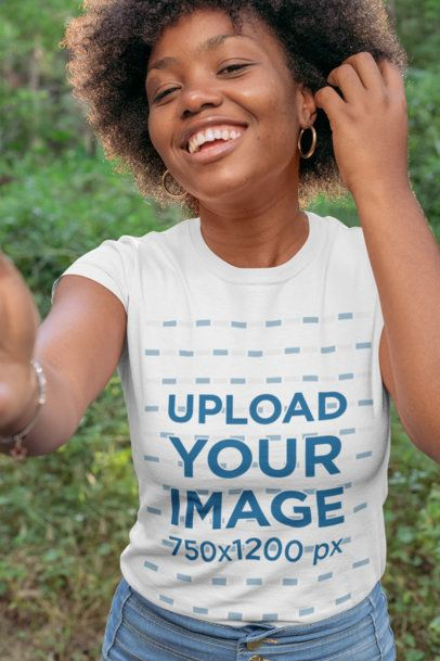 T-Shirt Mockup of a Smiling Woman in the Woods 30614